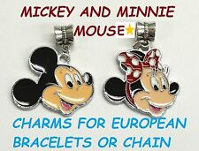 MICKEY & MINNIE MOUSE Disney Charm For European Style Bracelets Chain Necklac 1