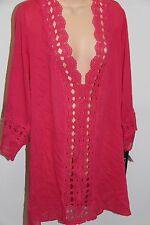 NWT La Blanca swimsuit bikini Cover Up Tunic Dress Sz M PNK