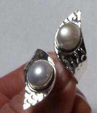 Designer Double Pearl Sterling SILVER .925 RING Adjustable Band Size 6-12