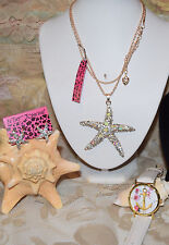 3 PC BETSEY JOHNSON GORGEOUS CRYSTAL STARFISH NECKLACE EARRINGS & ANCHOR WATCH