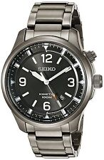 Seiko SKA707P9 Gents Stainless Steel Grey Ion Plated Date Kinetic Watch RRP £279