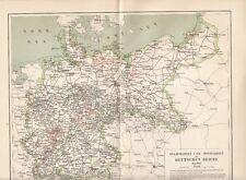 1894 Staatsbahnen und Privatbahnen Deutsches Reich Alte Landkarte Karte Bahn
