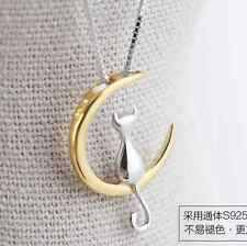 925 Silver Plated Lovely Moon Cat Kitten All_match Pendant Necklace Birthday New