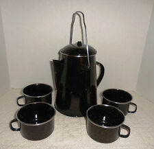 Black and White Speckled Enamelware Coffee Pot With 4 Cups Camp Set