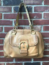 COACH Domed Buckle Large Satchel Tan Beige Leather * RARE OLDER!