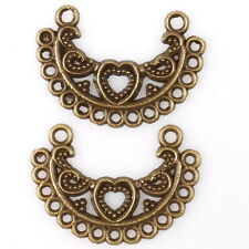 50pcs 145427 Bronze Tone Hollow Heart Crescent Charms Alloy Connector Pendants