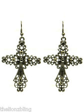 Industrial Gothic Urban Dark Grey Cross Earrings with Crystal Bling - 2 1/2""