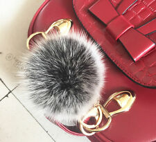 Brand 100% Real fox Fur  Pom Pom Doll Ball keychain Car Key ring  Bag Charm