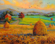 Autumn at the countryside. Original framed oil on canvas painting from artist