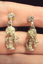 vintage candlestick style telephone phone dangle silver tone clip on earrings