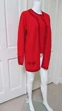 100% Authentic 2pc.Set Chanel Front Botton Red Sweater 100% Cashemere.Size L/XL