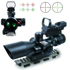 Tactical 2.5-10X40 Rifle Scope w/Laser & Holographic Green Red Dot Sight Reticle