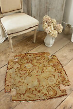 Antique French needlepoint canvas work late 19th century chair seat cover