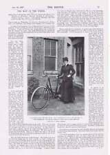 1901 Miss Granville célebre actriz con su bicicleta invierno en Spreewald