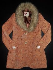 BKE OUTERWEAR BUCKLE TAPESTRY CARPET 2 BUTTON FAUX FUR COLLAR COAT JACKET -S-