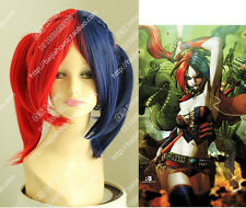 Harley Quinn Female Clown Wig Cos Batman Blue and Red Color Ponytail