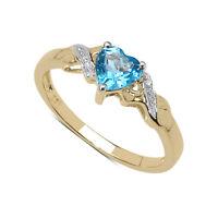9CT GOLD 1.00CT BLUE TOPAZ HEART & DIAMOND ENGAGEMENT RING SIZES I-V ANNIVERSARY