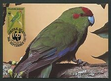Norfolk Island Mk pájaros laufsittich Red-fronted Parrot maximum card mc cm m98