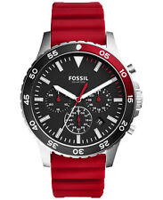 NWT Fossil Men's Crewmaster Sport Chronograph Red Silicone Watch CH3056 46mm