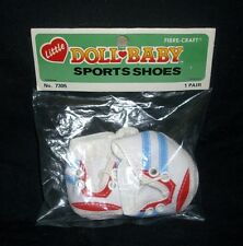 VINTAGE 1984 LITTLE DOLL BABY SPORTS SHOES RED BLUE FOR KIDS NEW IN PACKAGE