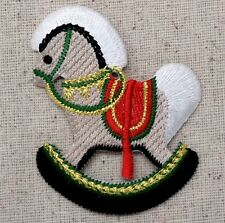 Iron On Embroidered Applique Patch Christmas Rocking Horse Toy with Red Saddle