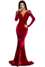 Red Long Sleeve Velvet Evening Gown cruise cocktail prom dress size 10-12