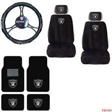 NFL Oakland Raiders Car Truck Seat Covers Steering Wheel Cover & Floor Mats Set