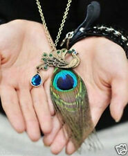2016 retro peacock feathers over drilling long necklace sweater chain