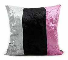 large 3 tone crush velvet cushions or covers red black grey white brown cream