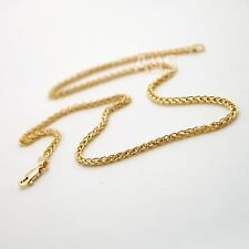 18 inch 14K Gold Wheat Chain Necklace 2.4 mm Heavy 11.5g Yellow Gold Spiga 14Kt