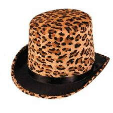 Leopard Plush Wild Animal Pimp Top Hat Adult Jungle Costume Accessory