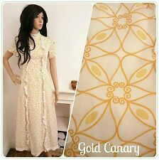 True Vintage 60's White Gold Boho Folk Geometric Frilly Maxi Dress Festival 8 36