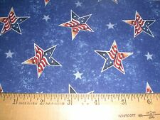 Cotton Fabric -Jim Shore Patriotic Red/White/Blue Stars on Navy Blue