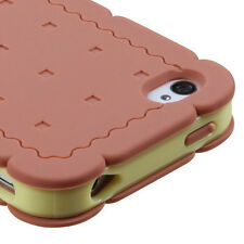 iPhone 4 4S Rubber SILICONE Skin Soft Gel Case Phone Cover Brown Yellow Biscuit