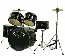 GP Percussion GP55BK 5-Piece Junior Drum Set with Cymbals and Throne-Black