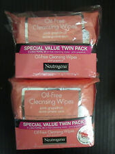 (4) NEUTROGENA - OIL-FREE CLEANSING WIPES - PINK GRAPEFRUIT- EXP: 3/18+ - RC 313