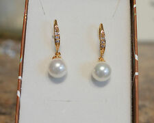 Lovely 18k/18ct Yellow Gold Filled 8mm Pearl & White Sapphire Drop Earrings
