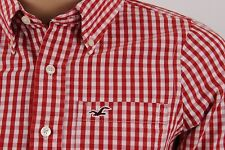 Mens Hollister California Red/White Gingham Check LS Btn Up Shirt Size S Small