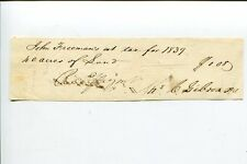 Unknown 1839 John Freeman Tax Historical Signed Autograph Document
