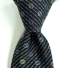 $200 GUCCI GG Pattern Black Men's Silk Neck Tie w/ Woven Silver & Grey GGs NWT