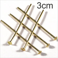 Lot of 20 nails Rods with head flat 3cm Golden for jewelery creation