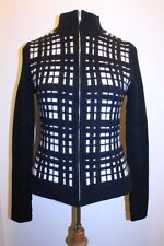Modal International Top M Black White Checker Victorias Secret Zip Front Sweater
