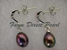 Genuine Black Pearl CZ Hoop Dangle Drop Stud Earrings Cultured Freshwater