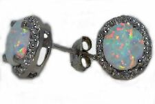 Opal 6mm & Diamond Round Stud Earrings 14Kt White Gold