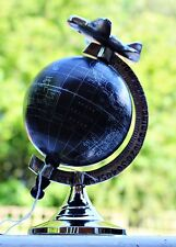 Black & Silver Spinning Decorative Globe with Airplane Ornament Art Deco Home