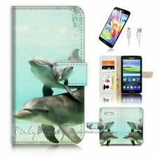 Samsung Galaxy Grand Prime Flip Wallet Case Cover! P1220 Dolphin