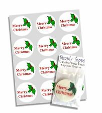 12 Merry Christmas Cupcake Decoration Cake Toppers Edible Pre Cut 40mm Xmas