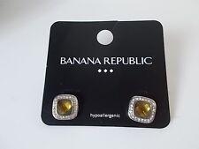 Lot of 5 Banana Republic Bronze Clear Crystal Square Stud Earrings NWOT $16.99