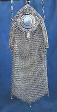 Antique WHITING & DAVIS Silver Metal Mesh PICCADILLY Flapper Compact Chain Purse