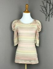 Deletta Anthropologie Beige/Coral Striped Knit Sweater Blouson Sleeves XS NWT
